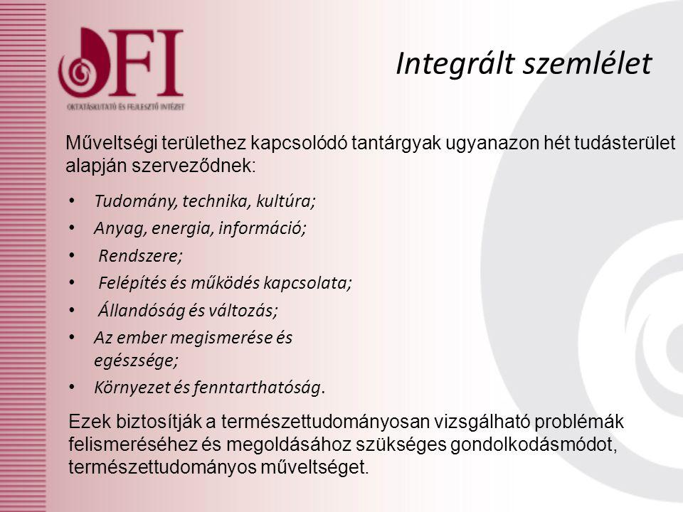 Integrált szemlélet Műveltségi területhez kapcsolódó tantárgyak ugyanazon hét tudásterület alapján szerveződnek: