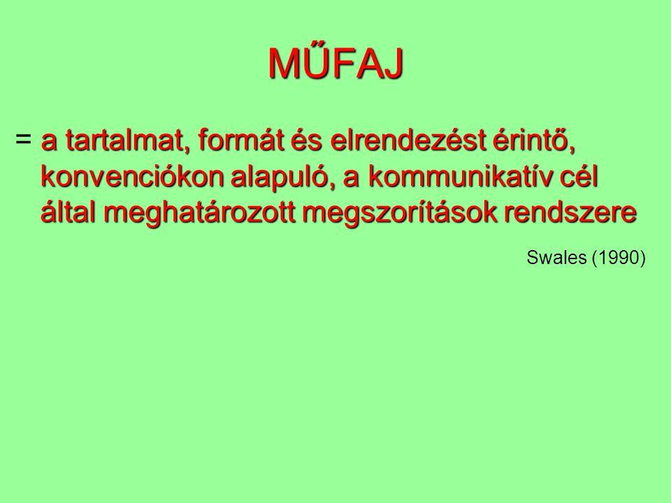 MŰFAJ = a tartalmat, formát és elrendezést érintő, konvenciókon alapuló, a kommunikatív cél által meghatározott megszorítások rendszere.