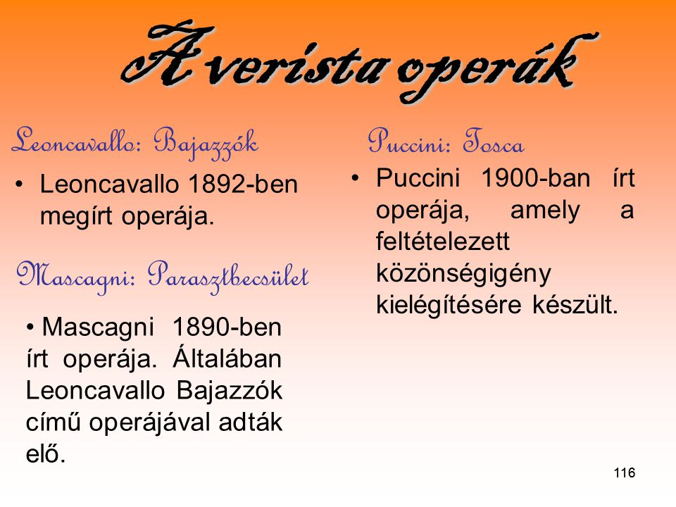 Leoncavallo: Bajazzók Puccini: Tosca