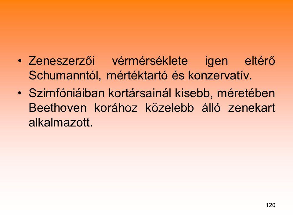Zeneszerzői vérmérséklete igen eltérő Schumanntól, mértéktartó és konzervatív.