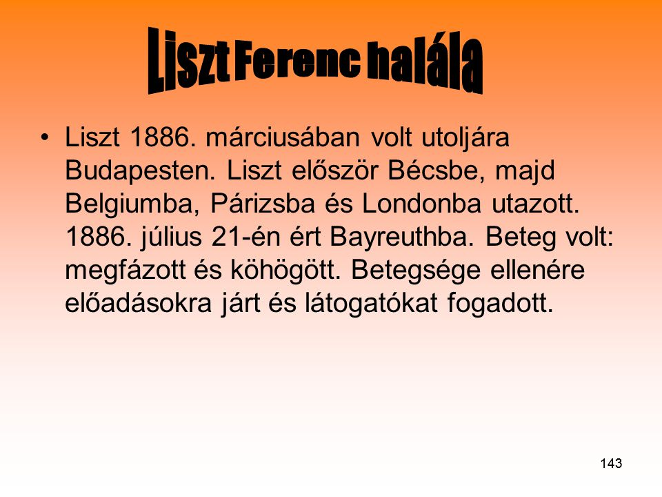 Liszt Ferenc halála