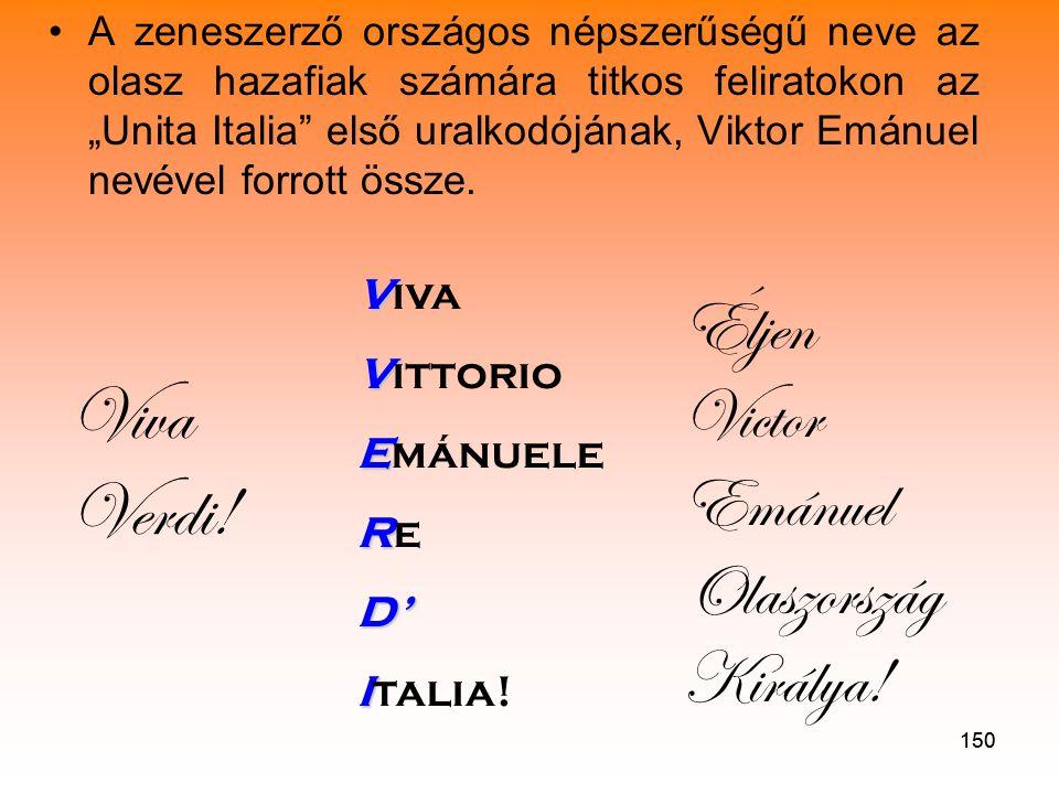 Viva Verdi! Éljen Victor Emánuel Olaszország Királya! Viva Vittorio