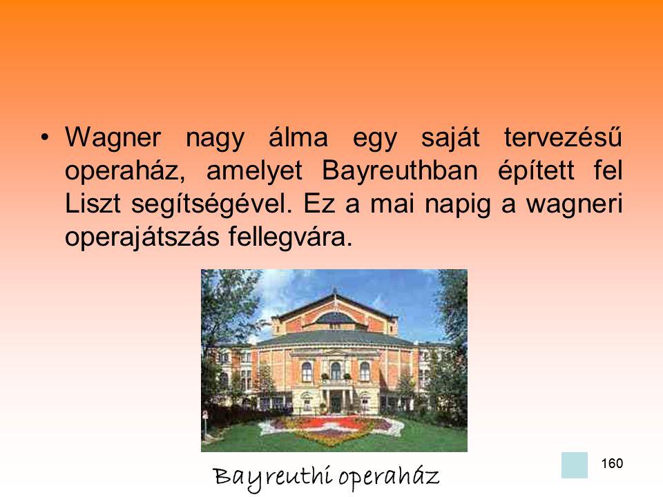 Wagner nagy álma egy saját tervezésű operaház, amelyet Bayreuthban épített fel Liszt segítségével. Ez a mai napig a wagneri operajátszás fellegvára.
