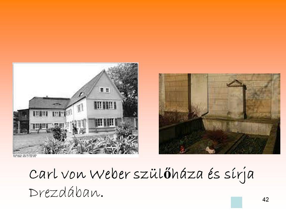 Carl von Weber szülőháza és sírja Drezdában.