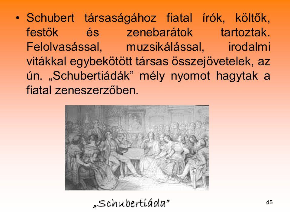 """Schubert társaságához fiatal írók, költők, festők és zenebarátok tartoztak. Felolvasással, muzsikálással, irodalmi vitákkal egybekötött társas összejövetelek, az ún. """"Schubertiádák mély nyomot hagytak a fiatal zeneszerzőben."""