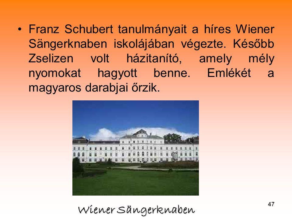 Franz Schubert tanulmányait a híres Wiener Sängerknaben iskolájában végezte. Később Zselizen volt házitanító, amely mély nyomokat hagyott benne. Emlékét a magyaros darabjai őrzik.