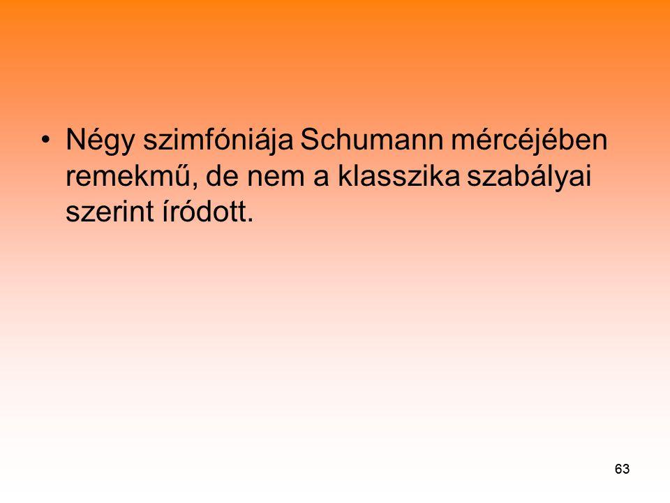 Négy szimfóniája Schumann mércéjében remekmű, de nem a klasszika szabályai szerint íródott.