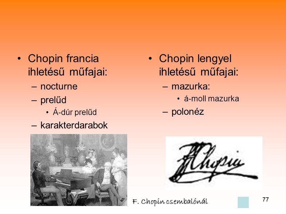 Chopin francia ihletésű műfajai: Chopin lengyel ihletésű műfajai: