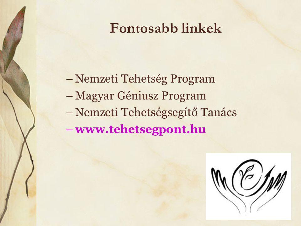 Fontosabb linkek Nemzeti Tehetség Program Magyar Géniusz Program