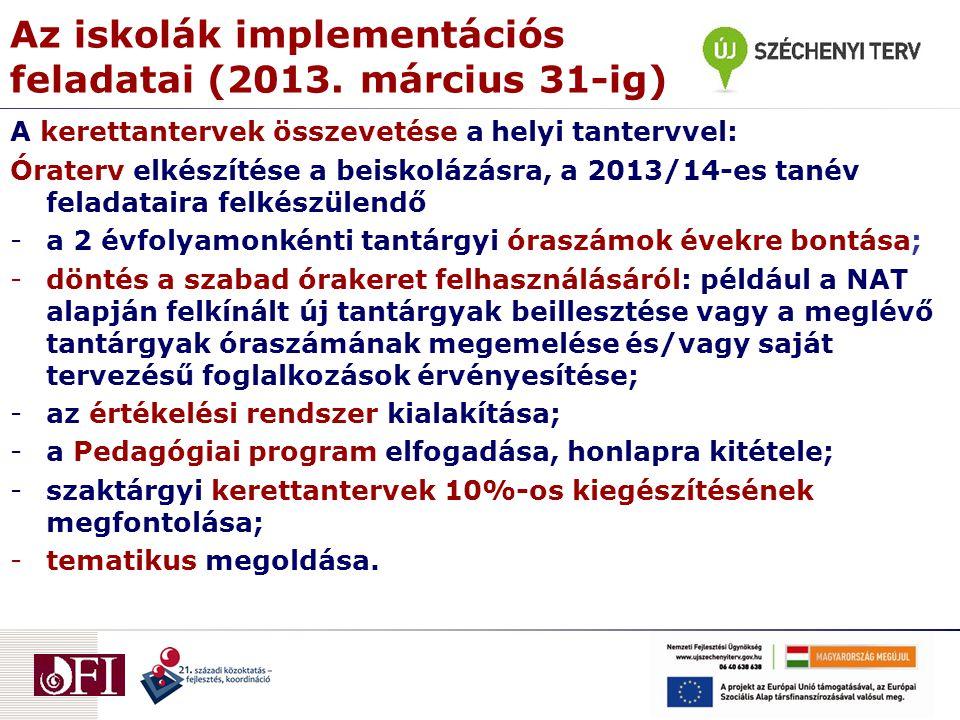Az iskolák implementációs feladatai (2013. március 31-ig)
