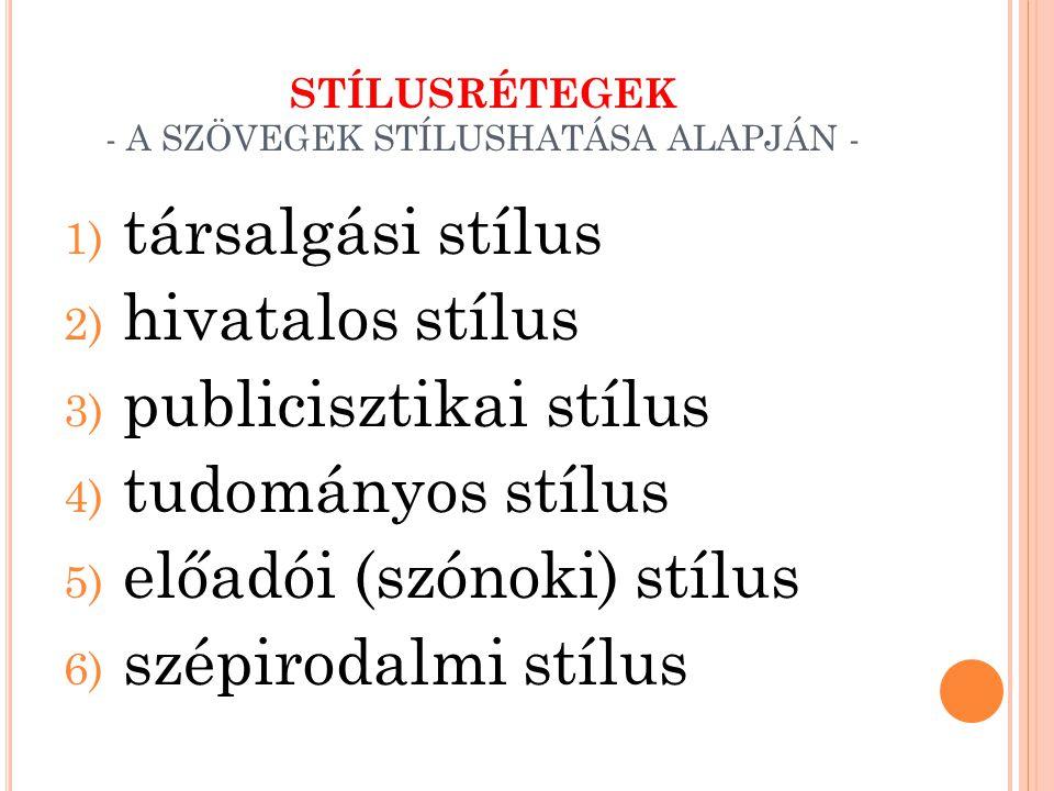 STÍLUSRÉTEGEK - A SZÖVEGEK STÍLUSHATÁSA ALAPJÁN -