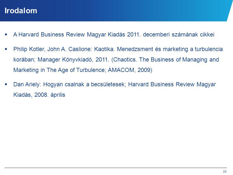 Irodalom A Harvard Business Review Magyar Kiadás 2011. decemberi számának cikkei.