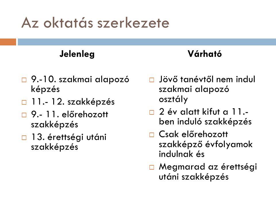 Az oktatás szerkezete Jelenleg 9.-10. szakmai alapozó képzés
