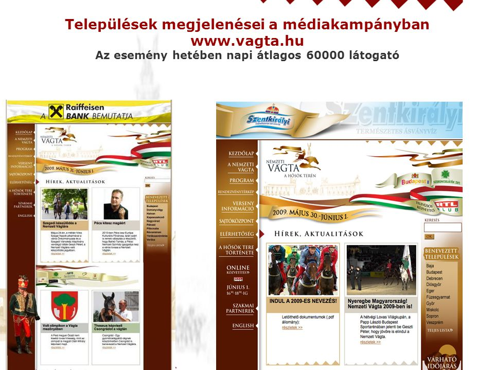 Települések megjelenései a médiakampányban www.vagta.hu