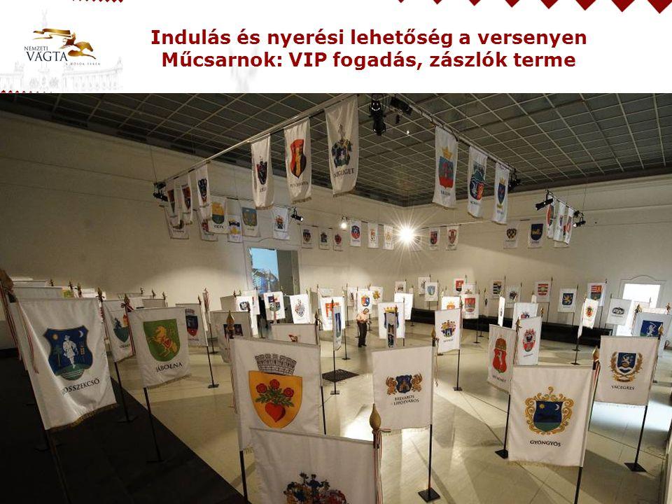 Indulás és nyerési lehetőség a versenyen Műcsarnok: VIP fogadás, zászlók terme