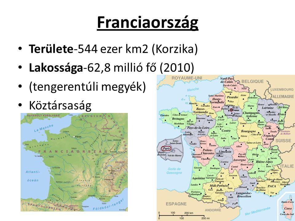 Franciaország Területe-544 ezer km2 (Korzika)