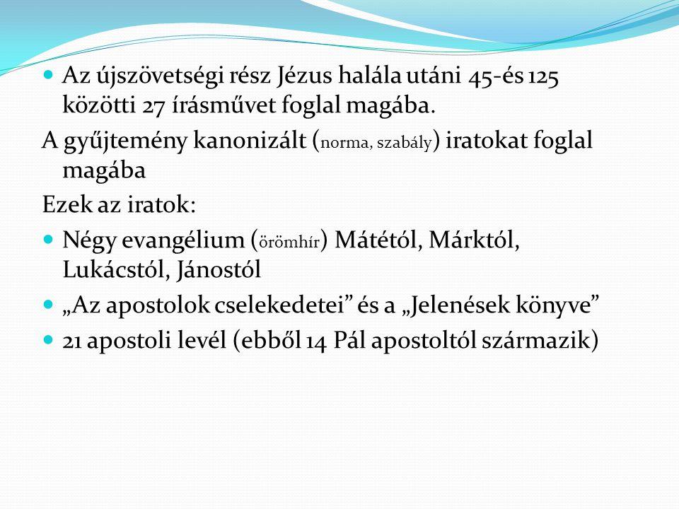 Az újszövetségi rész Jézus halála utáni 45-és 125 közötti 27 írásművet foglal magába.
