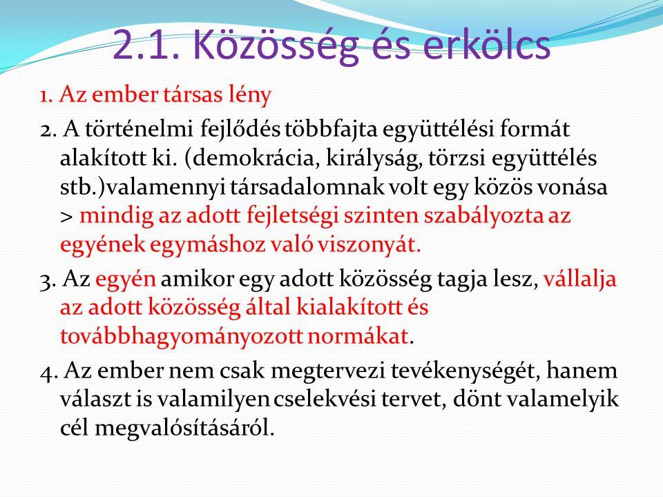 2.1. Közösség és erkölcs