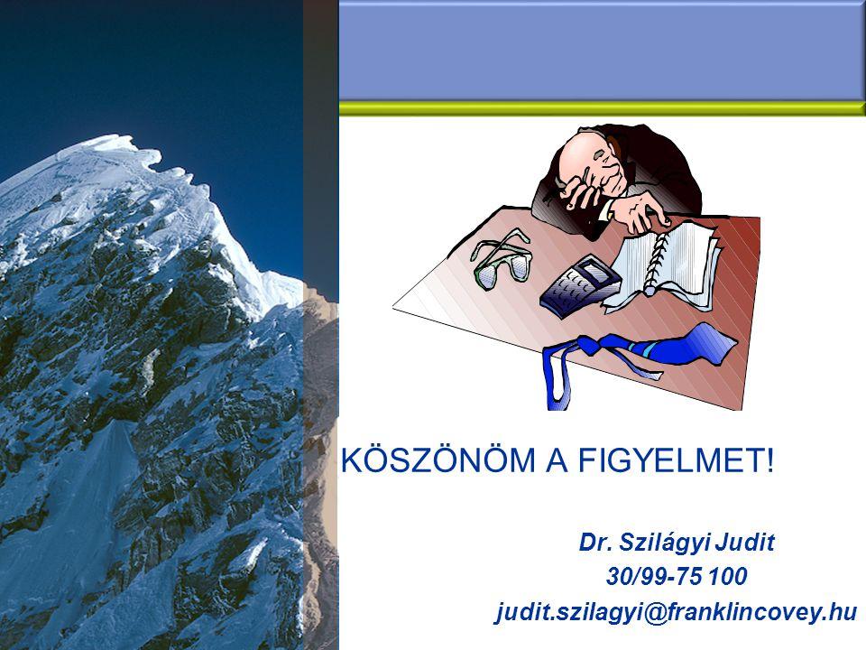 Köszönöm a figyelmet! Dr. Szilágyi Judit 30/99-75 100
