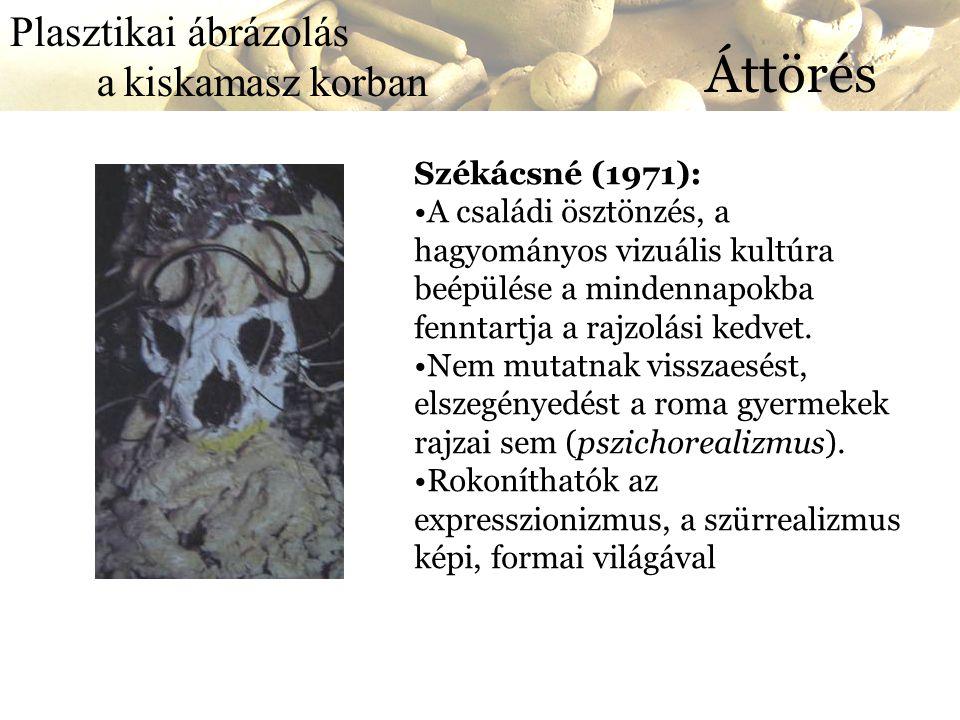 Áttörés Plasztikai ábrázolás a kiskamasz korban Székácsné (1971):