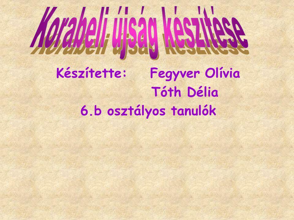 Készítette: Fegyver Olívia Tóth Délia 6.b osztályos tanulók