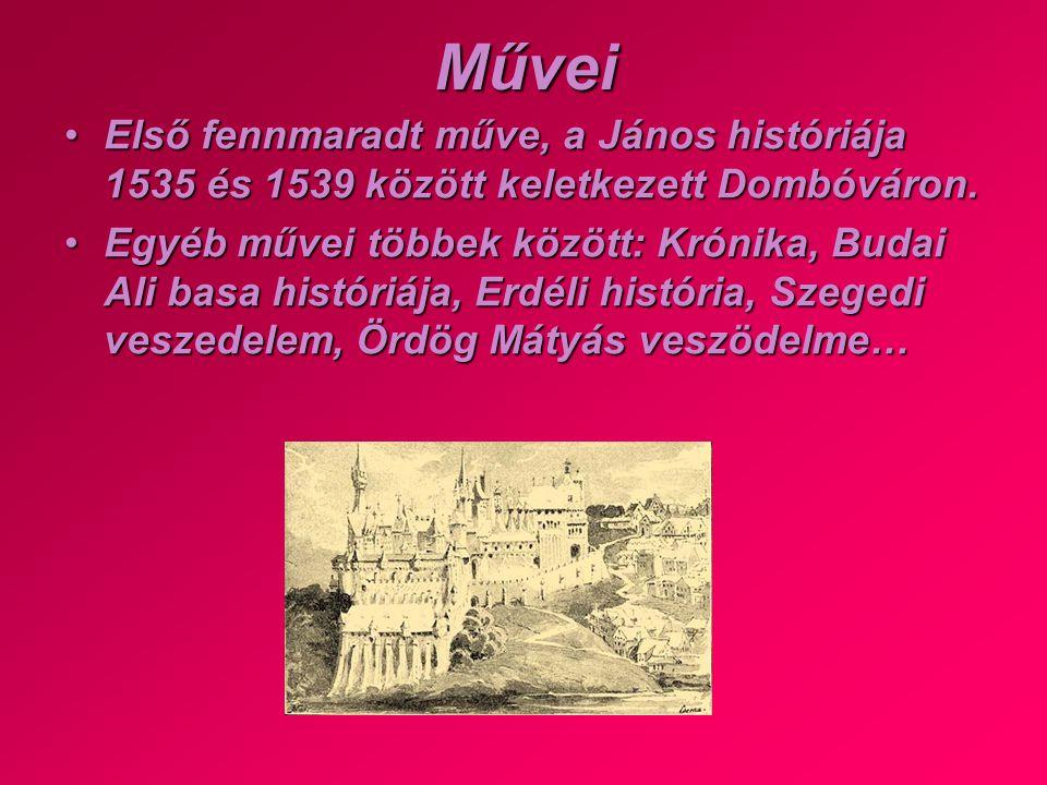 Művei Első fennmaradt műve, a János históriája 1535 és 1539 között keletkezett Dombóváron.