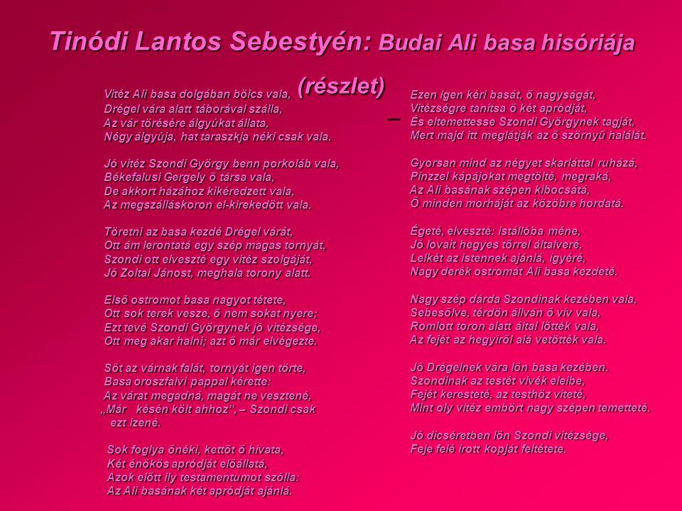 Tinódi Lantos Sebestyén: Budai Ali basa hisóriája (részlet)
