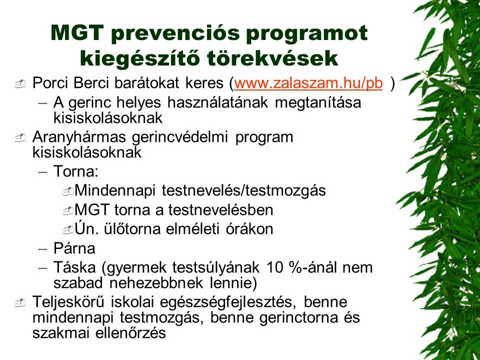 MGT prevenciós programot kiegészítő törekvések