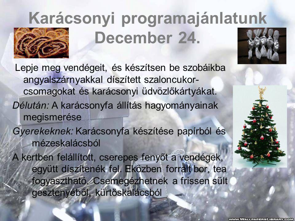 Karácsonyi programajánlatunk December 24.
