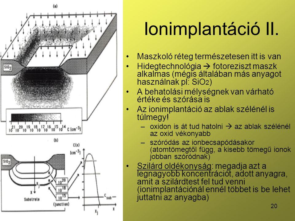 Ionimplantáció II. Maszkoló réteg természetesen itt is van