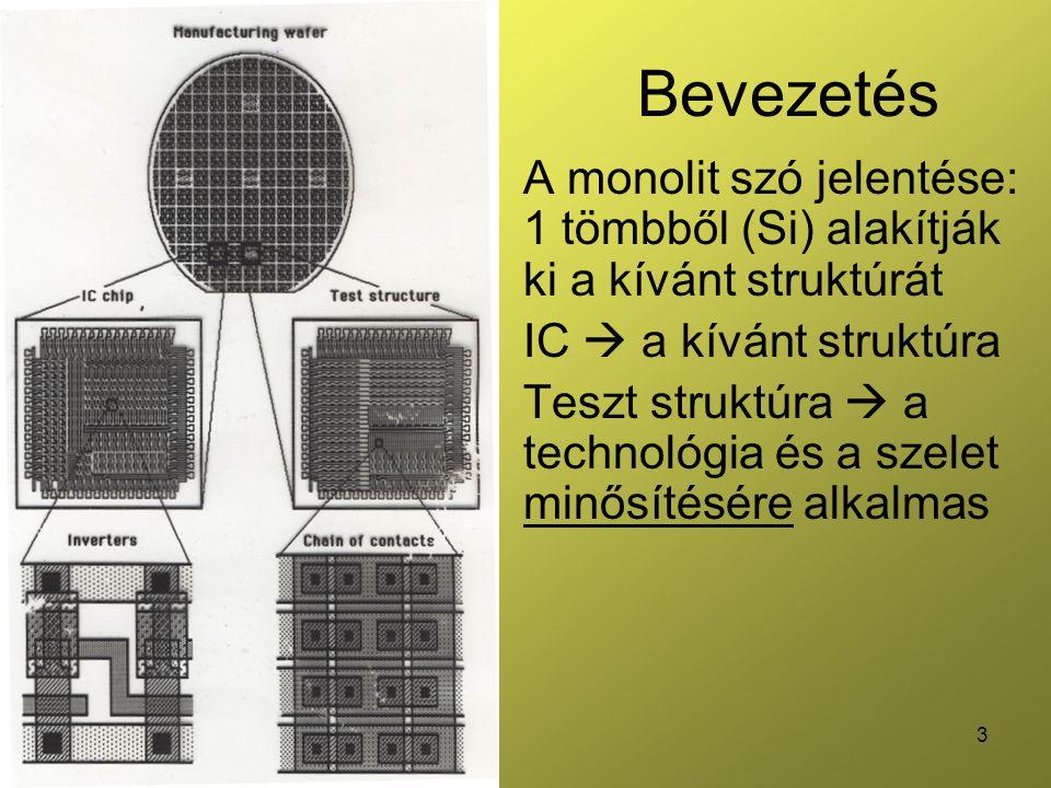 Bevezetés A monolit szó jelentése: 1 tömbből (Si) alakítják ki a kívánt struktúrát. IC  a kívánt struktúra.