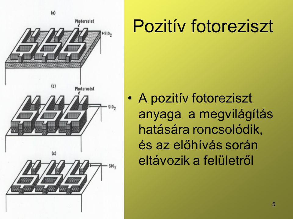 Pozitív fotoreziszt A pozitív fotoreziszt anyaga a megvilágítás hatására roncsolódik, és az előhívás során eltávozik a felületről.