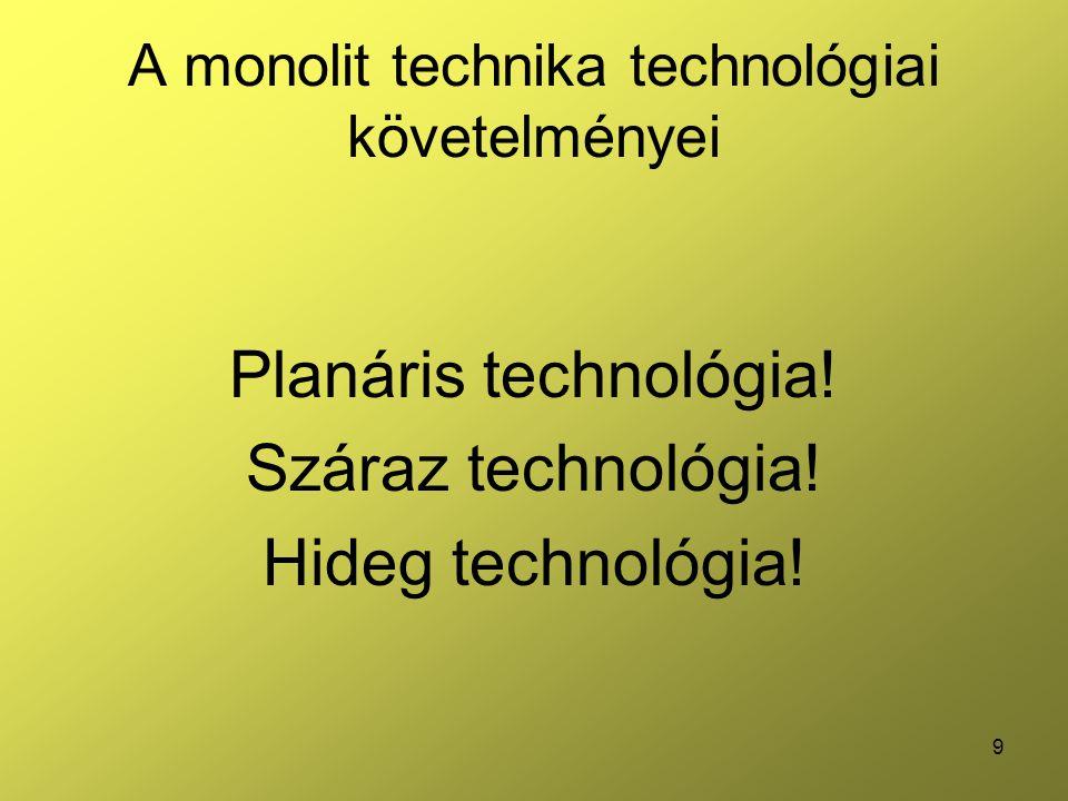 A monolit technika technológiai követelményei