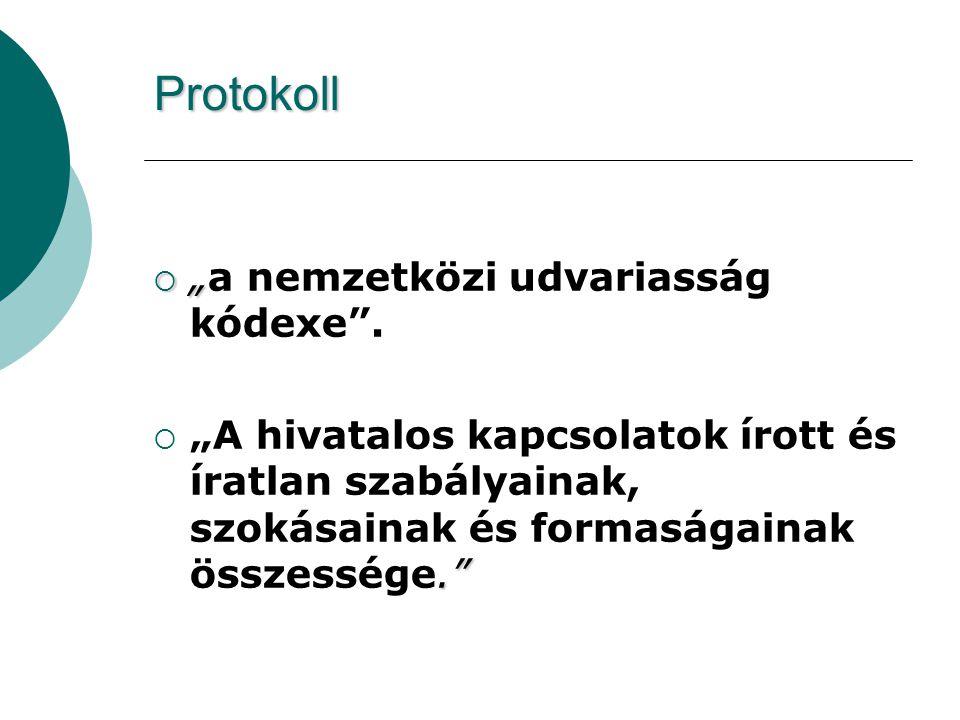 """Protokoll """"a nemzetközi udvariasság kódexe ."""