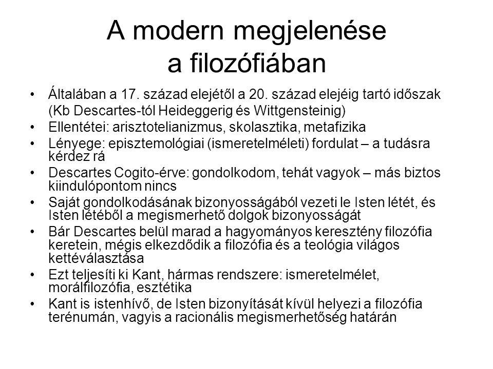 A modern megjelenése a filozófiában