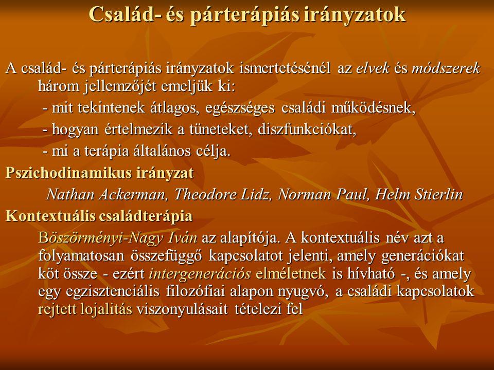 Család- és párterápiás irányzatok