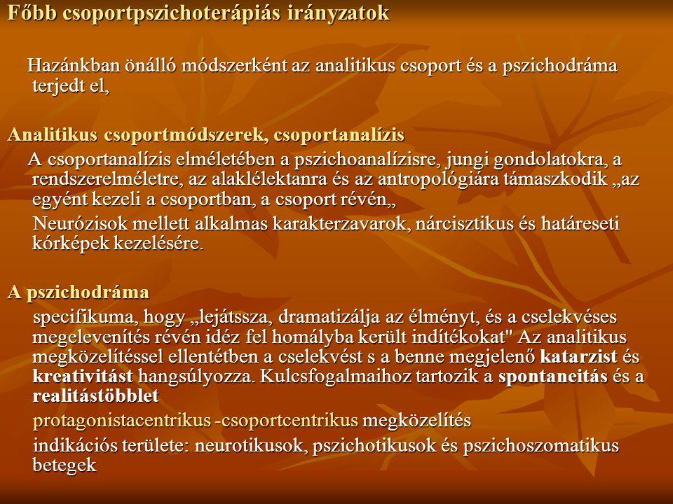 Főbb csoportpszichoterápiás irányzatok