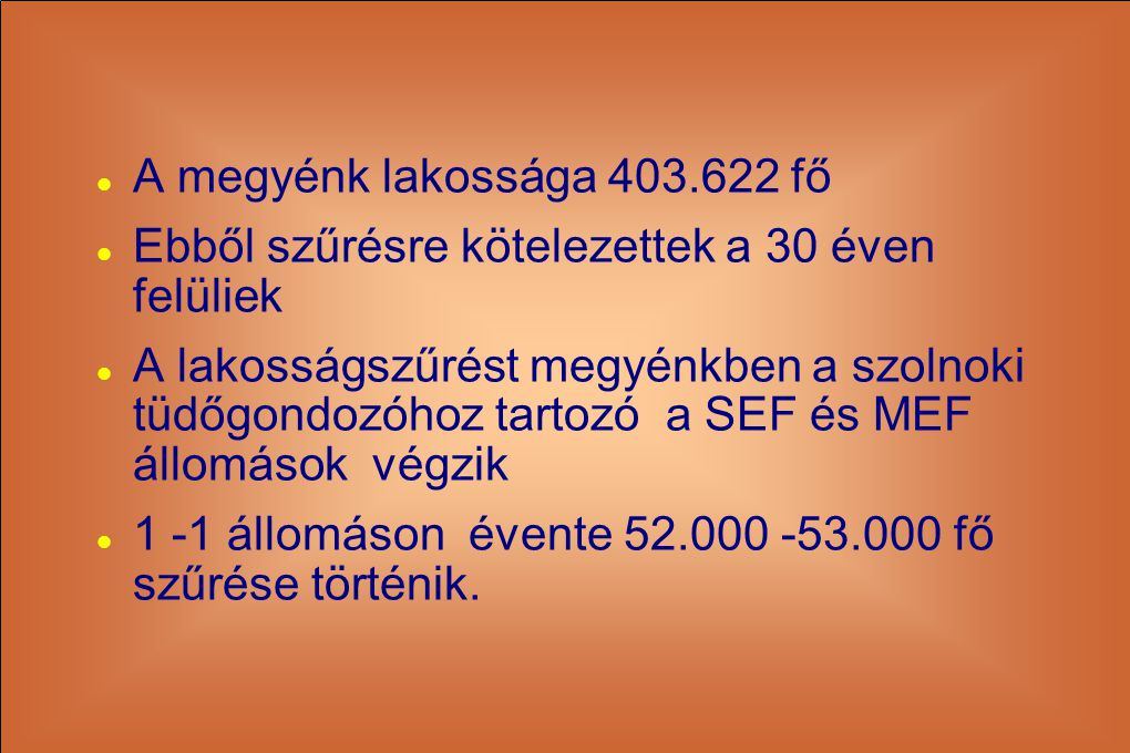 A megyénk lakossága 403.622 fő Ebből szűrésre kötelezettek a 30 éven felüliek.