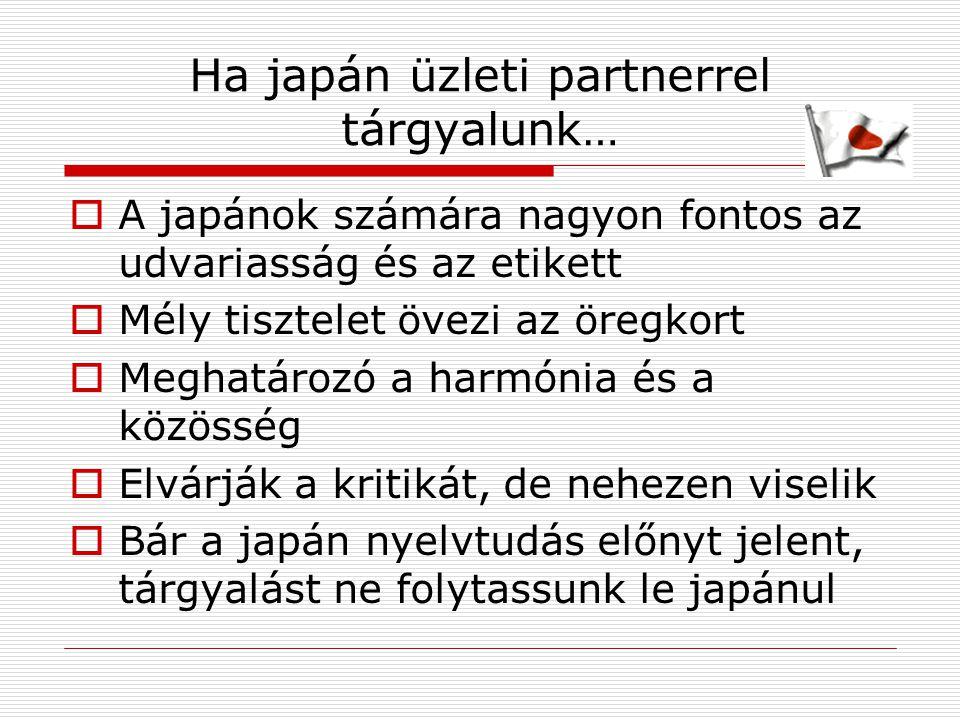 Ha japán üzleti partnerrel tárgyalunk…