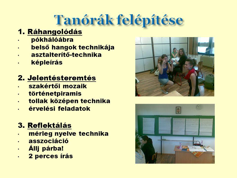 Tanórák felépítése 1. Ráhangolódás 2. Jelentésteremtés 3. Reflektálás
