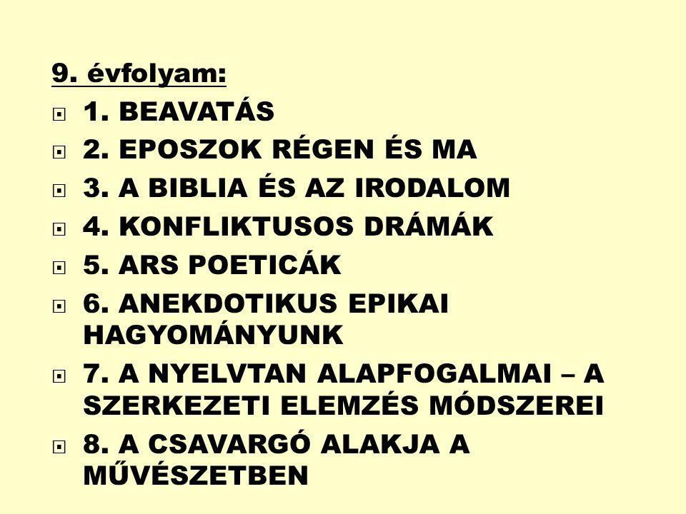 9. évfolyam: 1. BEAVATÁS. 2. EPOSZOK RÉGEN ÉS MA. 3. A BIBLIA ÉS AZ IRODALOM. 4. KONFLIKTUSOS DRÁMÁK.