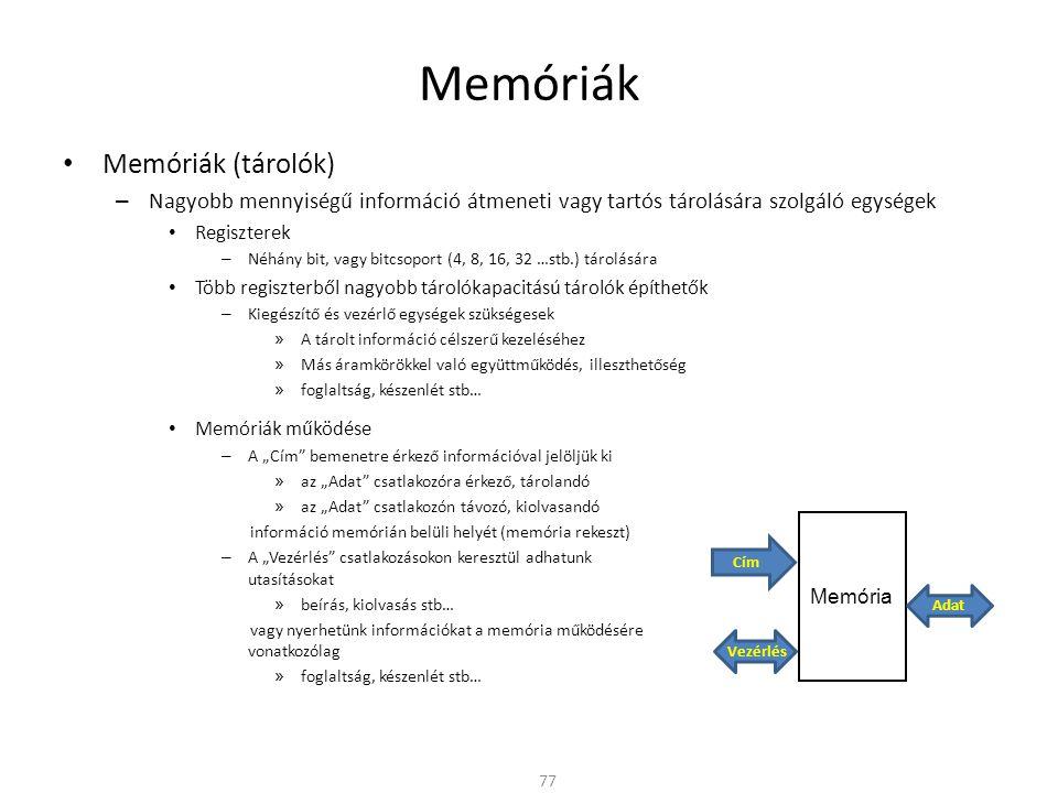 Memóriák Memóriák (tárolók)