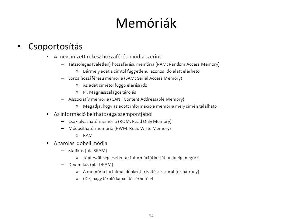 Memóriák Csoportosítás A megcímzett rekesz hozzáférési módja szerint