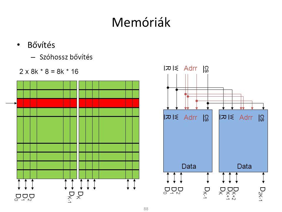 Memóriák Bővítés Szóhossz bővítés R w Adrr cs 2 x 8k * 8 = 8k * 16 R w