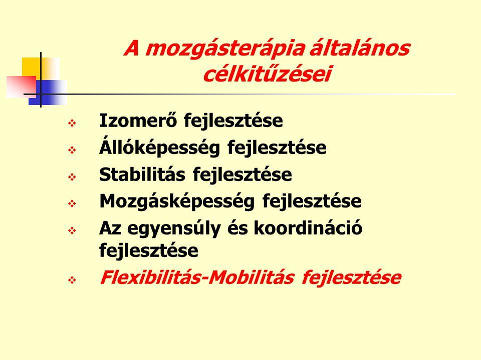 A mozgásterápia általános célkitűzései