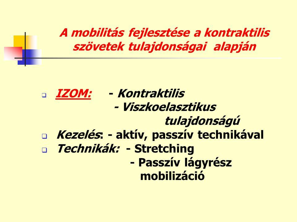 A mobilitás fejlesztése a kontraktilis szövetek tulajdonságai alapján
