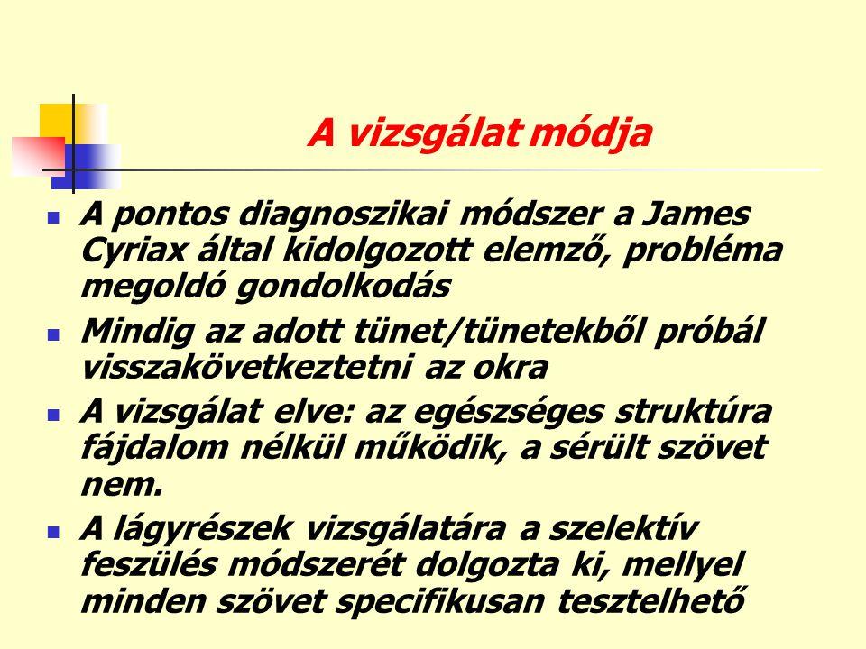 A vizsgálat módja A pontos diagnoszikai módszer a James Cyriax által kidolgozott elemző, probléma megoldó gondolkodás.