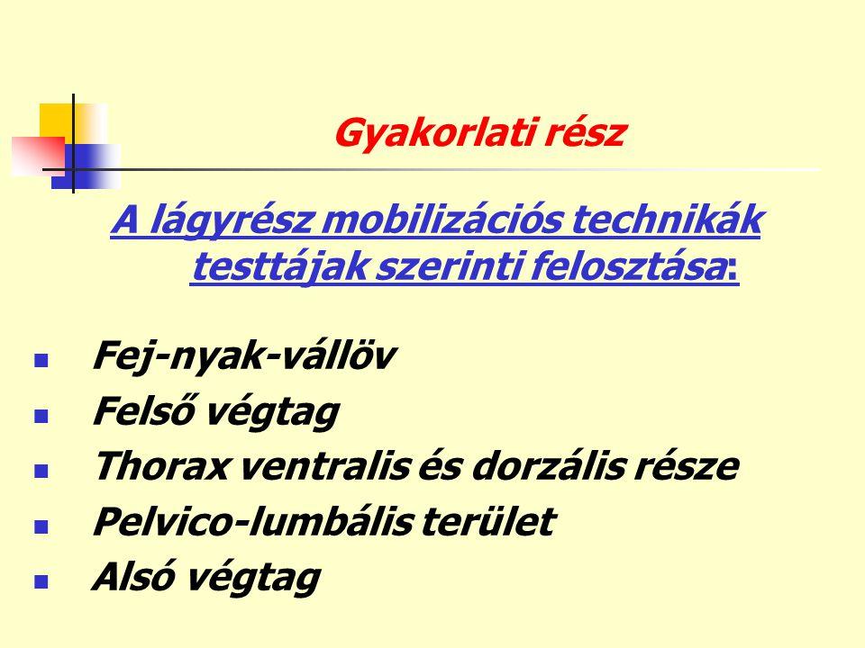 A lágyrész mobilizációs technikák testtájak szerinti felosztása: