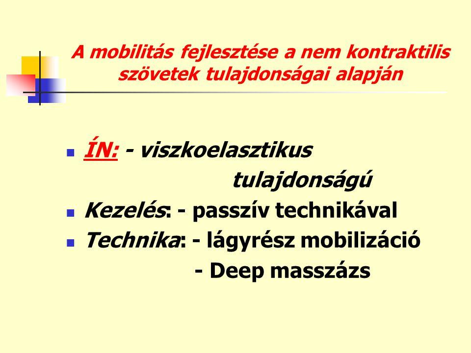 ÍN: - viszkoelasztikus tulajdonságú Kezelés: - passzív technikával