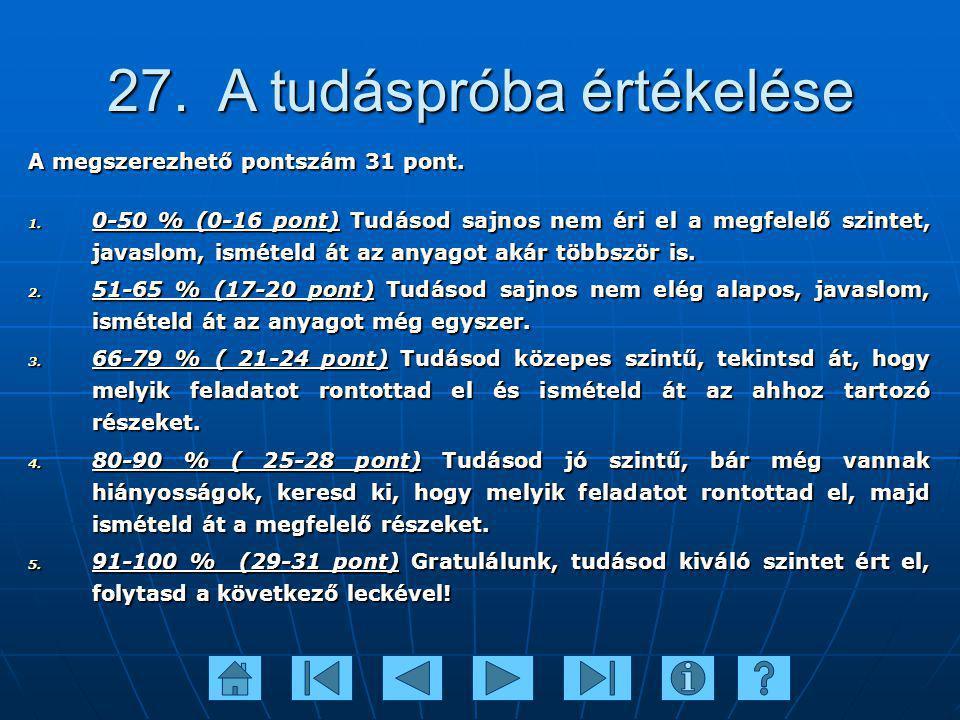 27. A tudáspróba értékelése